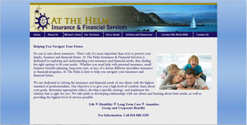 website designed for At the Helm Insurance | http://www.tapsolutions.net | Website Designed & Development San Fernando Valley