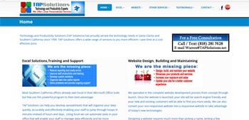 Website Development and MS Excel Support and Development Southern California, Website Designed, ReDesigned & Maintained Website Development and MS Excel Support and Development Southern California  http://tapsolutions.net/ Southern California Website Design, Website Design Southern California, Website Development In Southern California CA.,(818) 281-7628  http://www.tapsolutions.net
