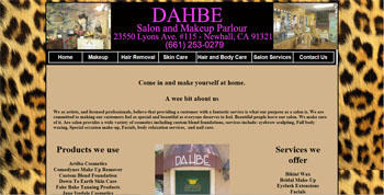 web site designed for Dahbe Salon and Makeup Parlor | http://www.tapsolutions.net | Website Designed & Web Development Santa Clarita Valley